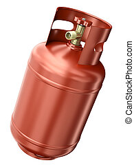 Red gas container isolated on white background 3D render