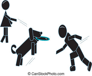 Stick Couple Play Frisbee With Dog - simple drawing of...