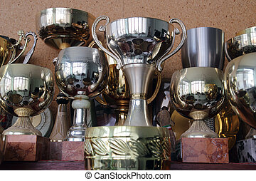 cup and trophy background - Gold and Silver champion trophy...