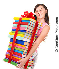 Girl holding pile of book.