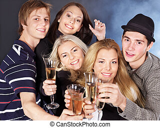 Group people drinking champagne. - Group young people...