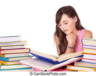 Girl with group book .