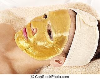 menina, máscara, Ouro,  facial