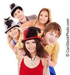Group young people on party. - Group young people in party...