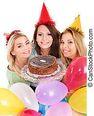 Group people holding cake. Isolated.