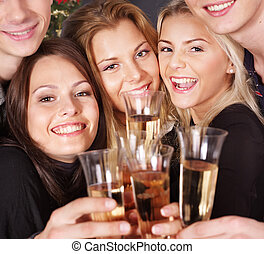 Group young people at nightclub - Group young people drink...