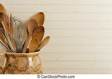 Wooden Spoons And Wire Whisks - A collection of wooden...