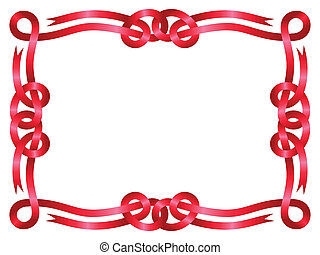 Red ribbon frame isolated on white background