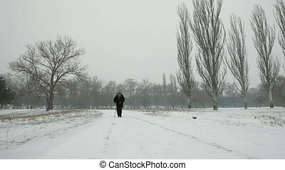 Old Woman Walking In Winter - An elderly woman in a...