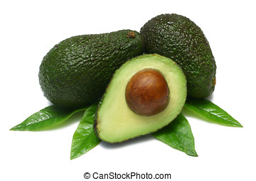 Avocado - Hass Avocados, two whole, one halved, with leaves...