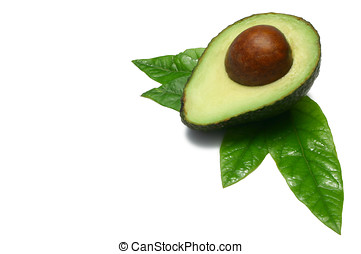 Half Avocado - One half Hass Avocado with leaves from an...