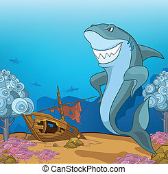 Ocean Underwater World Cartoon Coral Reef with Alga and Fish...
