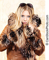 Blond woman with fur coat