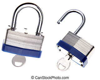 Padlocks on plain background