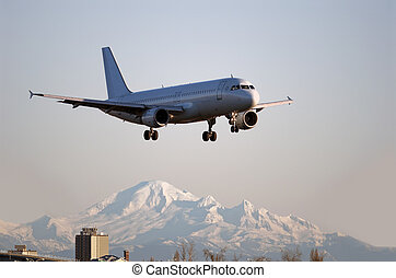Airbus A-320 aircraft landing in Vancouver - Airbus A-320...