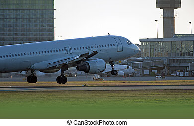 Airbus A-320 aircraft landing in Vancouver - Jet Airplane...