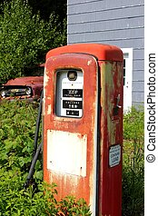 vintage gas pump and truck
