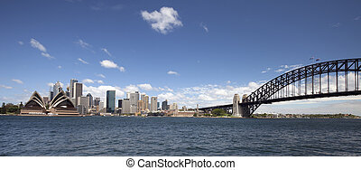 Sydney Harbour Bridge and downtown - Sydney Opera House,...