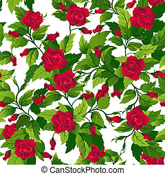 Seamless background with red roses