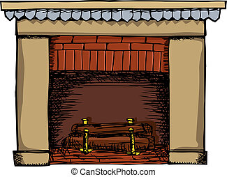 Fireplace Illustration - Unlit fireplace with logs isolated...