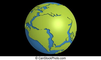 continental drift 11 - Globe with super continent Pangea and...
