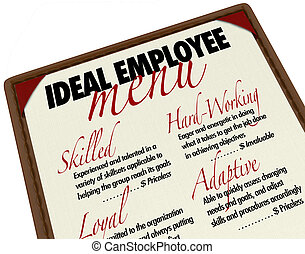Ideal Employee Menu for Choosing Job Candidate - A menu...