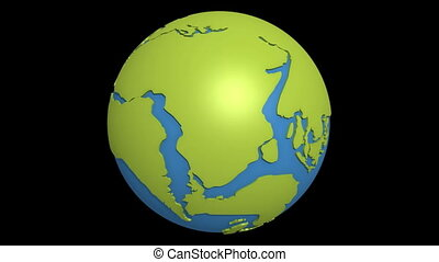 continental drift atlantic - Globe with super continent...