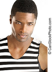 Male fashion model - Detailed portrait of a young black man...