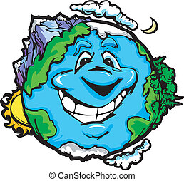 Happy Smiling Planet Earth