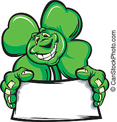Happy Four Leaf Clover Shamrock Hol - Cartoon Vector...