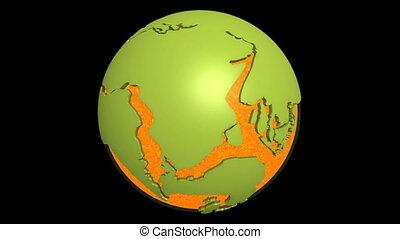 continental drift pacific magma - Globe with super continent...