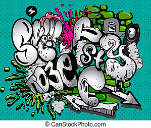 graffiti vector elements on green background