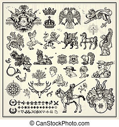 heraldic design elements - silhouettes of heraldic design...