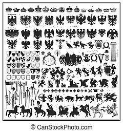 silhuetas, heraldic, desenho