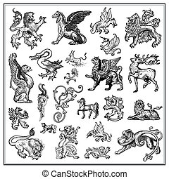 heraldic beast collection - black and white