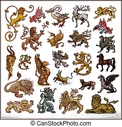 heraldic beast collection on white background Color