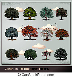 vector set of trees on gray background
