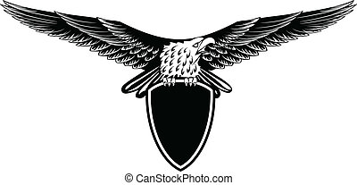 eagle with straightened wings - Vector image eagle with...