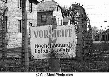 Warning sign at Auschwitz concentration camp, Poland
