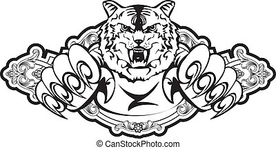 tiger in frame - Vector image attacking tiger in frame