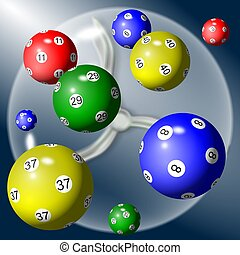 lottery balls - A group of lottery balls suspended in the...