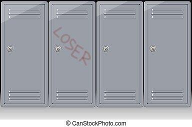school bullying - a word loser written on one school locker