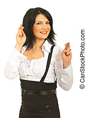 Happy business woman with fingers crossed - Happy business...