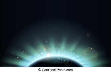 Eclipse sun planet background - Background of aurora light...