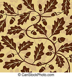 oak leaf acorn seamless background - vector oak leaf acorn...
