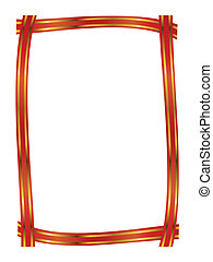 red ribbon with gold stripe frame