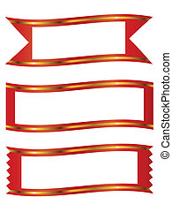 ribbons with gold stripe banner frame set