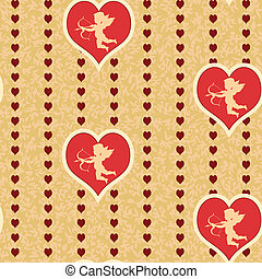 cupid with heart seamless background pattern