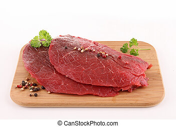 isolated raw meat beef