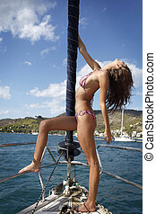 pretty young woman posing on the yacht - pretty young...